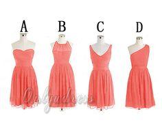 Coral bridesmaid dress, short bridesmaid dresses, chiffon bridesmaid dresses,cheap bridesmaid dresses under 100, bridesmaids dress 2014 5331 on Etsy, $95.00