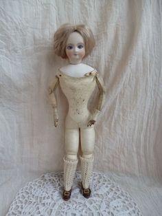 "Reproduction Head and Antique Body FG French Fashion Doll 13 5"" 34 Cm | eBay"