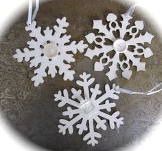 Snowflakes Winter Decor Snowflake Ornament by SweetLibertyBarn