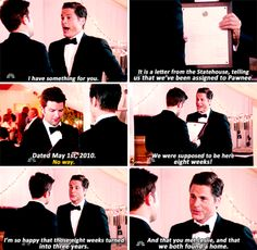 """When Chris gave Ben a really thoughtful wedding gift: 28 """"Parks And Recreation"""" Moments That Will Always Pull At Your Heartstrings Parks And Rec Memes, Parks And Recs, Parks And Recreation, Movies Showing, Movies And Tv Shows, Thoughtful Wedding Gifts, Lil Sebastian, Are You Not Entertained, Nick Miller"""