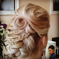 A stunning set of curls and braids! It's a hair-up day in the salon today - wedding hair - updo - blonde - La Durbin