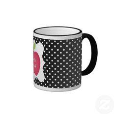 Black & White Polka Dot Red Apple Teacher's Coffee Mugs