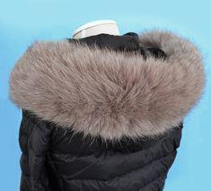 READY to SHIP XL Double Real Fox Fur (Tail) Trim Hood, Fur collar trim, Fox Fur Collar, Fur Scarf, Fur Ruff, Fox Fur Hood, Hood Fur, stripe