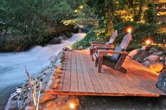 Patio overlooking a stream | houzz.com
