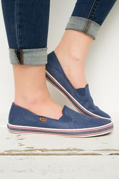 These Keds are a must have in any closet! Cozy slip on style is comfortable and the denim blue material goes with anything! They have a breathable lining, a cushioned insole, and are flexible. You won