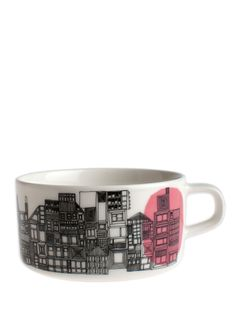 The 'In Good Company' range from Marimekko, which combines the styles of Rasymatto and Siirtolapuutarha, was created by Maija Louekari. This simply designed tableware depicts a contemporary look that's so very Scandinavian. This tea cup is perfect for eve Marimekko, Mug Dinner, Scandinavia Design, My Cup Of Tea, Online Gifts, Mug Cup, Crate And Barrel, Dinnerware, Tea Pots