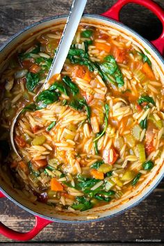 Orzo-Eintopf (Reisnudel-Eintopf) mit Spinat - Madame Cuisine Rice Recipes, Easy Healthy Recipes, Healthy Snacks, Chicken Recipes, Easy Meals, Dinner Recipes, Chicken Soup, Eating Healthy, Risoni