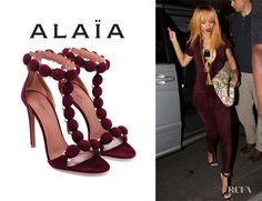 Rihanna's Azzedine Alaia Studded Suede Sandals