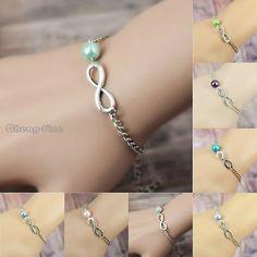 Personalized Infinity Imitation Pearl Bracelet Sister Friendship Bridesmaid Gift | eBay