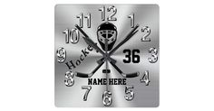 Super Cool PERSONALIZED Hockey Clock for Boys. Type in their Jersey Number (or Monogram) and their Name or delete it. Acrylic Clock has a cool Burnished look silver colour background with silver coloured numbers and black and grey hockey mask and hockey sticks. Incan make the hockey wall clock in ANY colours.   Call Designer Linda for HELP and or CHANGES:  239-949-9090  Call the designer, Linda, I can make design Changes and Assist you in creating a cool personalized Hockey gifts for kids to…