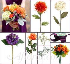 Purple Orange & White Wedding Flowers ~ Courtney's Inspiration Board