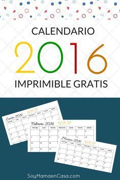 Free Printable 2016 Calendar / Calendario 2016 listo para imprimir gratis !
