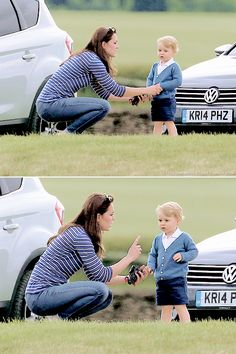 Kate, Duchess of Cambridge with her oldest child, Prince George...