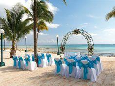 Beach Wedding white and Blue