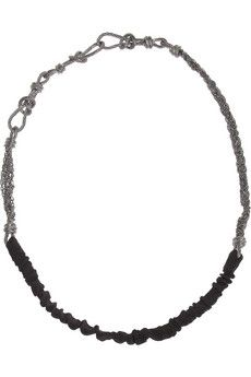 Maison Michel Angelique knotted brass and twill headband | NET-A-PORTER