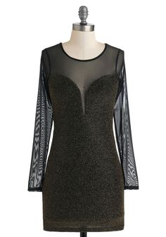 #modcloth  #partydress Sparks and Recreation Dress - Long Sleeve, Winter, Short, Black, Gold, Girls Night Out