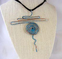 Patina copper wire swirl necklace metal jewlery by DebraNicholls, $34.00