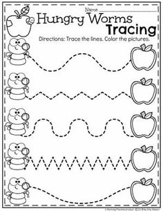 Preschool Apple Worksheets - Hungry Worms Tracing Worksheet #preschool #preschoolworksheets #appletheme #appleworksheets #planningplaytime #tracingworksheets