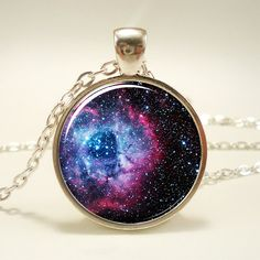 Rosette Nebula Necklace Galaxy Jewelry Universe Pendant by rainnua, $14.45