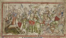 HARALD HARDRADA, king of Norway, and TOSTIG GODWINSON, exiled Earl of Northumbria, defeated northern Earls Eadwine and Morcar at the Battle of Fulford, near York, 19 Sep in 1066. Medieval Manuscript, Medieval Art, Anglo Saxon Kings, Erik The Red, Commemorative Stamps, Warrior King, Stamford Bridge, Norse Vikings, Knights