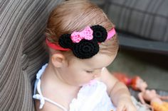 Pink and Black Minnie Mouse  Mickey Mouse Crochet Baby Girl Headband. $8.95, via Etsy.