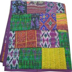 Twin Vintage Old Patola Silk Sari Kantha Quilt Patchwork Throw Gudari Bedspread