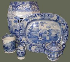 English Blue & White Pottery.