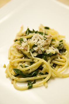 Pino Luongo's bucatini with ramps and pancetta ragù - May 15 (Photo by Joan Garvin)