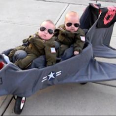 Top Gun, I want twins just for this. And the dumb and dumber costumes