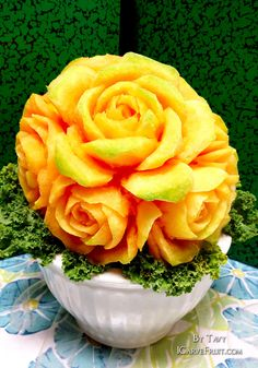 Cantaloupe Fruit Carving by Tavy at http://icarvefruit.com