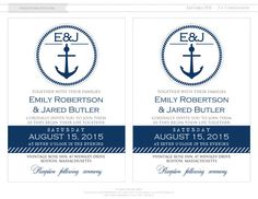 Nautic Printable Weddings Invitation Navy Anchor by AmeliyCom