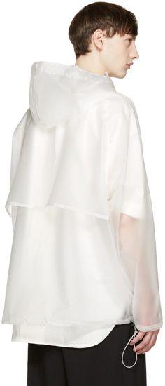 Off-White - Translucent Hooded Raincoat Rain Fashion, Mens Fashion, Rainy Outfit, Boy Outfits, Fashion Outfits, Hooded Raincoat, Raincoats For Women, Fashion Fabric, Chef Jackets