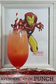 Avengers: Age of Ultron Punch - Wendys Hat Man Party, Avengers Age, Movie Nights, Age Of Ultron, Quick Snacks, Hurricane Glass, Punch, Spiderman, Graduation