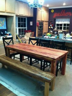 Cedar table and Oak bench built by Jordan Tracey