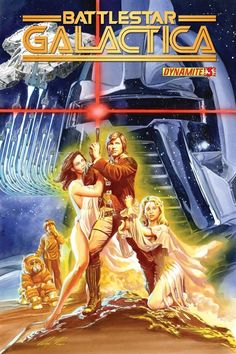 Alex Ross-BattleStar Galactica #3 cover Comic Art. Star War Movie poster parody/homage.