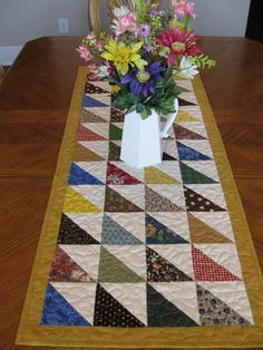 Quilted Triangles Table Runner by Quiltedhearts5 on Etsy