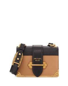 V32WZ Prada Cahier Notebook Shoulder Bag, Caramel/Black (Caramel/Nero) Diese und weitere Taschen auf www.designertaschen-shops.de entdecken