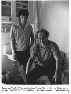 Robert Frank, the brilliant Swiss-American photographer who collaborated with Jack Kerouac on several occasions, is 87 today…    Photo by Allen Ginsberg of Robert and Paolo Frank, 1984