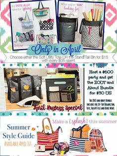 Thirtyone, Thirty-one gifts, spring and summer catalog, April 2017 customer specials, hostess specials