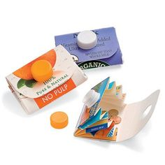 KIDS CRAFTS RECYCLING Carton Wallet Recycle a milk or orange juice carton into a clever carrying case for change, trading cards, and more. Kids Crafts, Diy And Crafts, Craft Projects, Projects To Try, Arts And Crafts, Paper Crafts, Craft Ideas, Recycling Projects For School, Diy Ideas