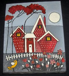 Cozy Little Red House whimsical prim folk by originalartbymicki, $35.00