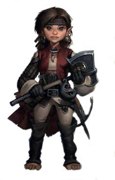 Female halfling or gnome with axe #halfling #gnome