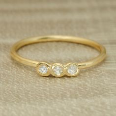 Little Three Stone Ring in 14K Gold  hammered by RedPetalJewelry