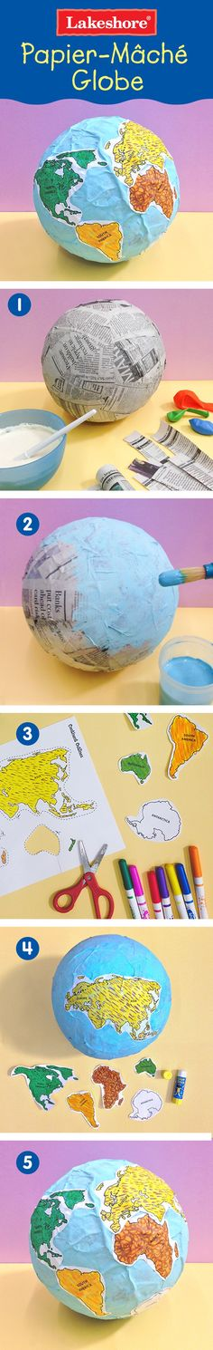 DIY Papiermachee- Globus Paper mache globe project With printable Continent Outlines Template that you can color yourself. Globe Projects, Science Projects, School Projects, Projects For Kids, Kids Crafts, Kids Solar System Projects, Ecosystems Projects, Learning Activities, Kids Learning