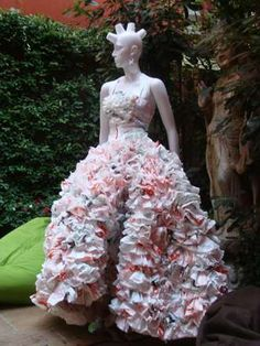 Plastic bags make Wedding Dress