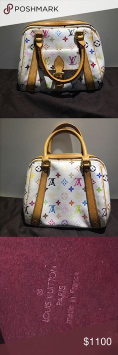 AUTHENTIC white Louis Vuitton speedy bag Good condition with some light discoloration( check other listing for pictures). Nearly Perfect interior condition. Bag only, no accessories. Louis Vuitton Bags Shoulder Bags