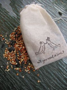 75 Bird seed filled muslin drawstring bags by PlantablesAndPaper, $82.50