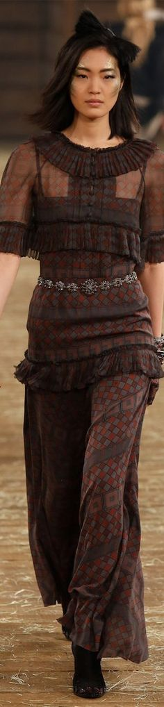 Chanel ~ Fall Tunic w Maxi Skirt, Brown+Red, 2014