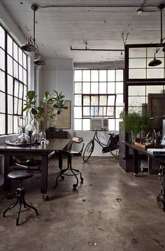 My perfect home office and studio with concrete, black window frames, black furniture and factory windows Industrial Interiors, Industrial House, Industrial Style, Vintage Industrial, Industrial Windows, Industrial Furniture, Industrial Workspace, Industrial Apartment, Industrial Design