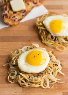 Potato Noodle Hash Browns - I'd sub sweet potatoes for Clinty and me!